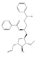 (S)-3-((2R,3R,4S,5S)-5-allyl-4-hydroxy-3-methoxytetrahydrofuran-2-yl)propane-1,2-diyl dibenzoate Chemical Structure
