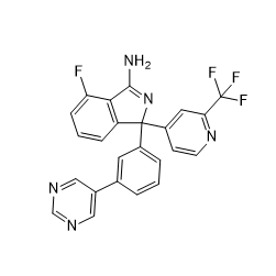 4-Fluoro-1-(3-(pyrimidin-5-yl)phenyl)-1-(2-(trifluoromethyl)pyridin-4-yl)-1H-isoindol-3-amine Chemical Structure