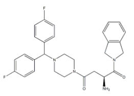 (S)-2-Amino-4-(4-(bis(4-fluorophenyl)methyl)piperazin-1-yl)-1-(isoindolin-2-yl)butane-1,4-dione 结构式