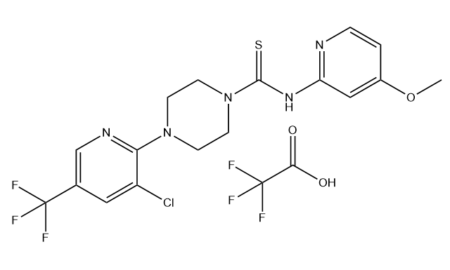 4-(3-Chloro-5-(trifluoromethyl)pyridin-2-yl)-N-(4-methoxypyridin-2-yl)piperazine-1-carbothioamide trifluoroacetate Chemical Structure
