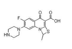 6-Fluoro-1-methyl-4-oxo-7-(1-piperazinyl)-4H-[1,3]thiazeto[3,2-a]quinoline-3-carboxylic acid Chemical Structure