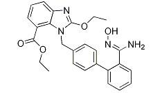 (Z)-Ethyl-2-ethoxy-3-((2'-(N'-hydroxycarbaMiMidoyl) biphenyl-4-yl) Methyl)-3H-benzo[d] iMidazole-4-carboxylate Chemical Structure